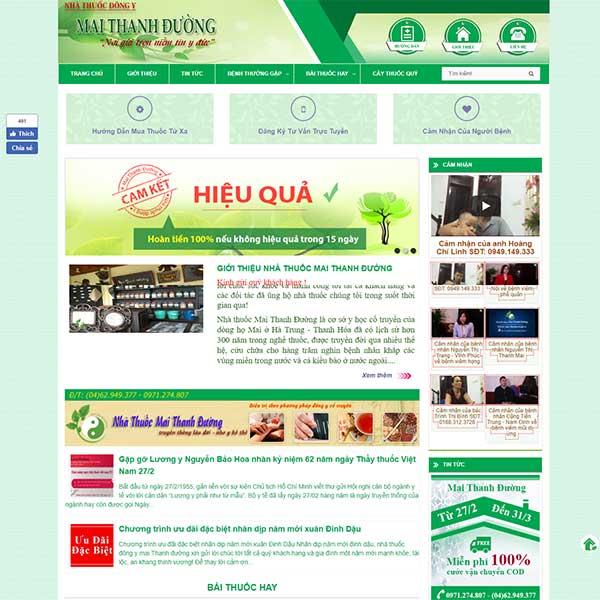 Mẫu website nhà thuốc đông y Mai Thanh Duong WBT1153