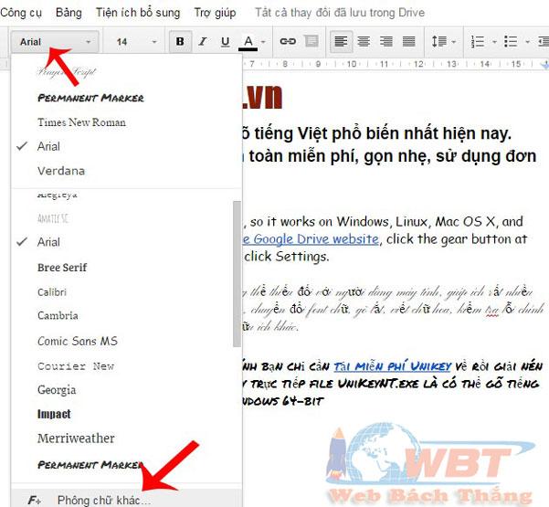 Google Docs font