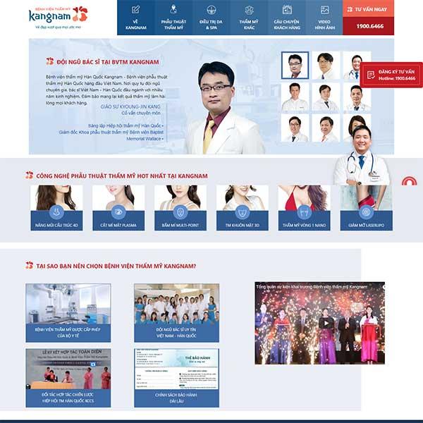 Mẫu website bệnh viện thẩm mỹ Kangnam WBT1206