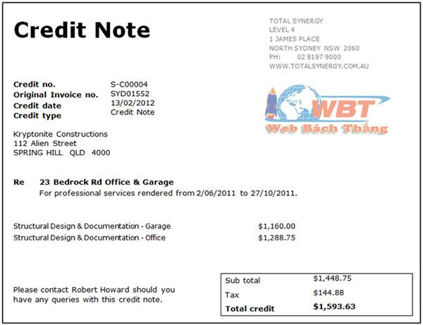 credit note là gì?