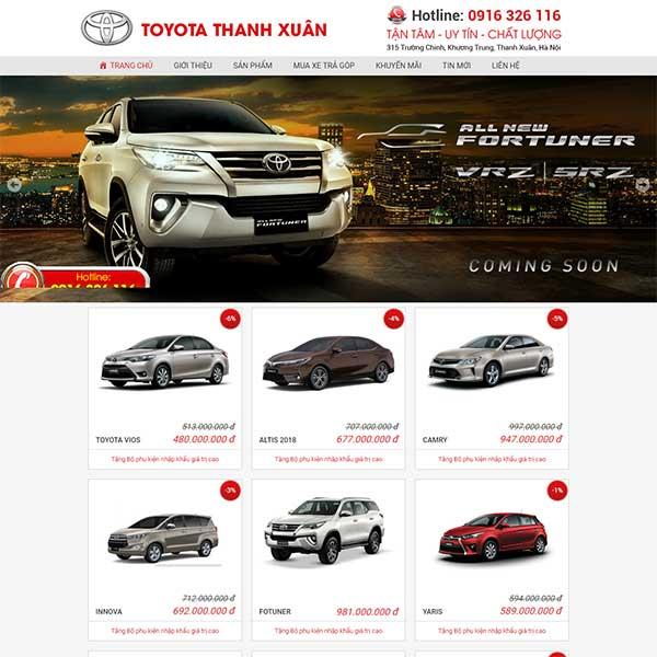 Mẫu website bán xe ô tô Toyota Thanh Xuân WBT1196