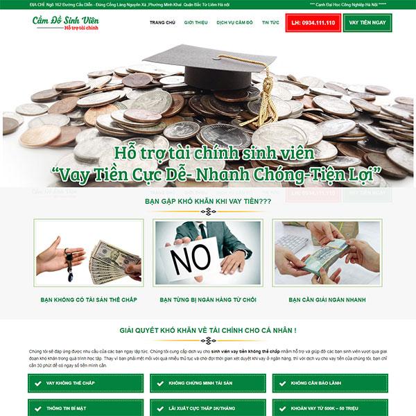 Mẫu website dịch vụ hỗ trợ tài chính - cầm đồ sinh viên WBT1186