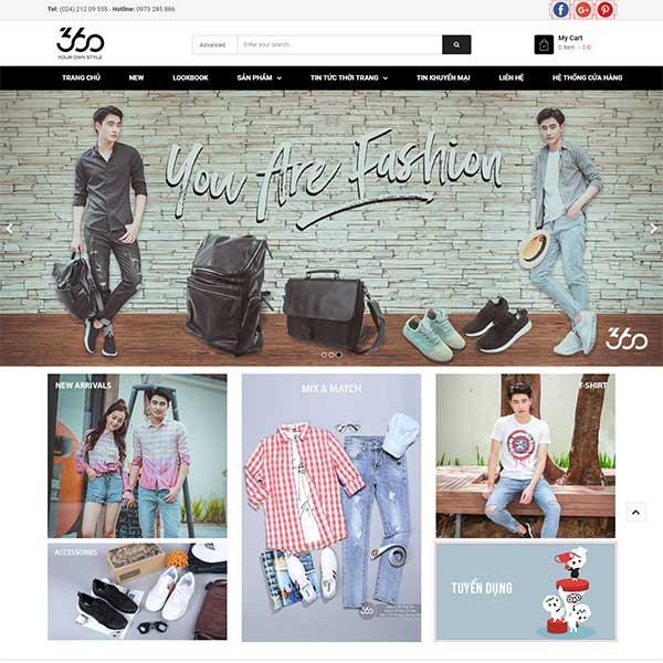 Mẫu website shop quần áo nam nữ rẻ đẹp WBT1250