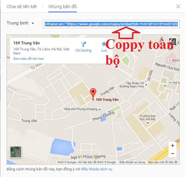 lấy mã nhúng google map