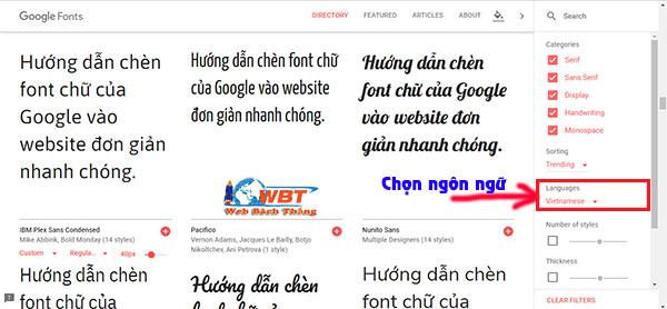 Hướng dẫn chèn font chữ của Google vào website 01