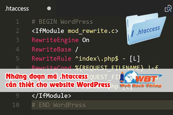 Những đoạn mã .htaccess cần thiết cho website WordPress
