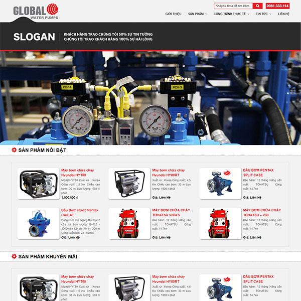 Mẫu website bán máy bơm thiết bị PCCC WBT1370