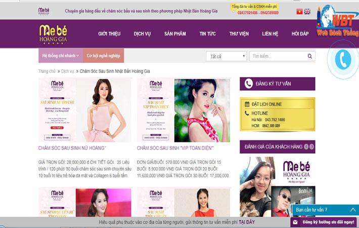 Thiết Kế Website Dịch Vụ Sau Sinh Chuyên Nghiệp Uy Tín