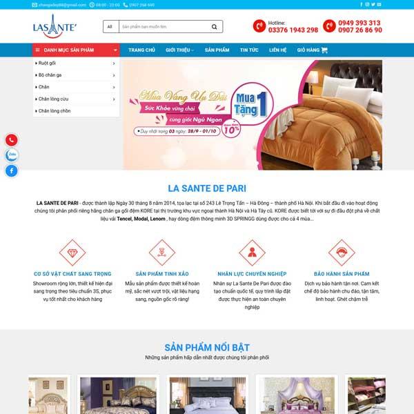 Mẫu website bán hàng chăn ga đệm TKW210