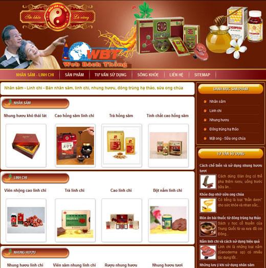Mẫu thiết kế web cửa hàng nhân sâm linh chi đẹp