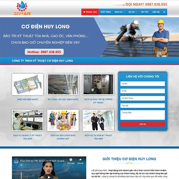 Mẫu website giới thiệu công ty cơ điện TKW222
