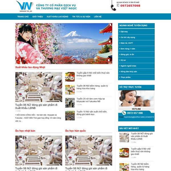 Mẫu website xuất khẩu lao động và du học Nhật Bản TKW225