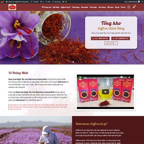 Mẫu Website Nhụy Hoa Nghệ Tây Hoàng Minh WBT 1428