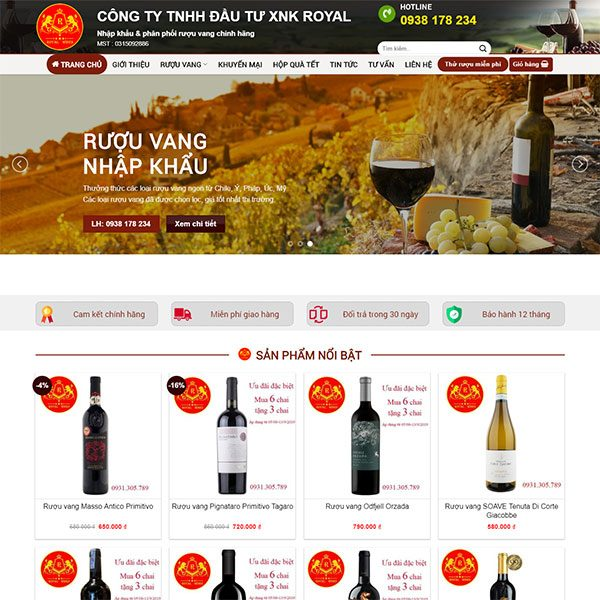 Mẫu Website Bán Rượu Vang WBT 1430