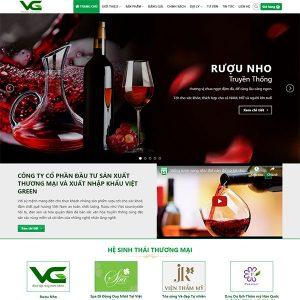 Mẫu Website Giưới Thiệu Rượu Vgreen WBT 1432