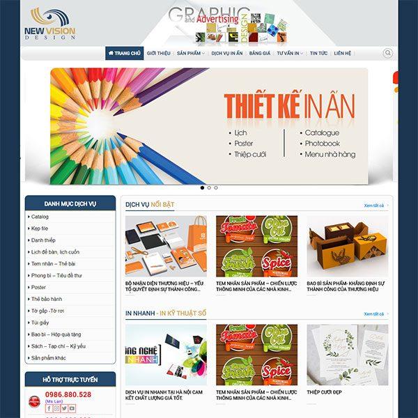 Mẫu Website In ấn Tầm Nhìn Mới WBT1435