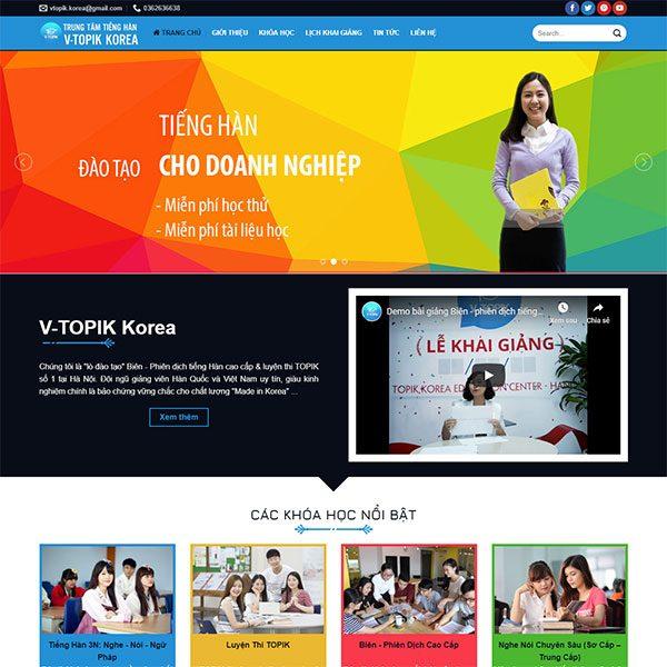 Mẫu Website Trung Tâm Tiếng Hàn V-TOPIK WBT1438
